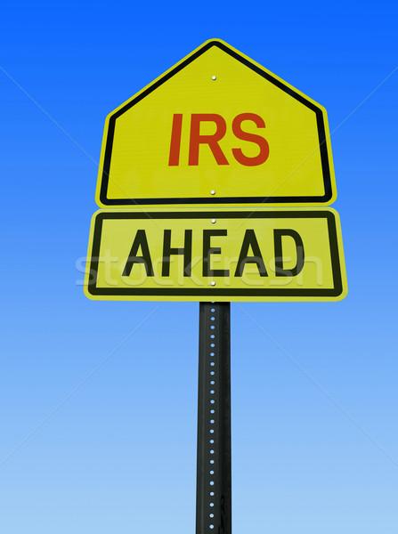 Adóhatóság előre posta felirat jelzőtábla égbolt Stock fotó © RedDaxLuma