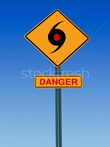 Tornádó veszély figyelmeztetés jelzőtábla ikon égbolt Stock fotó © RedDaxLuma