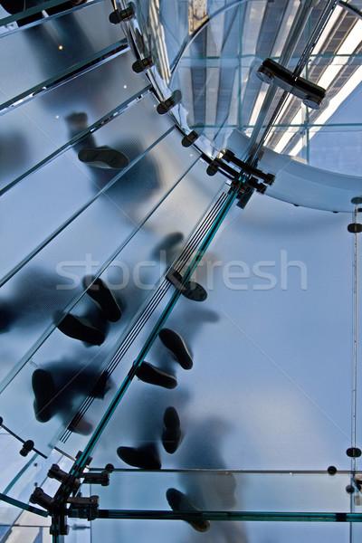 üveg lépcsőfeljáró emberek áll körkörös láb Stock fotó © RedDaxLuma