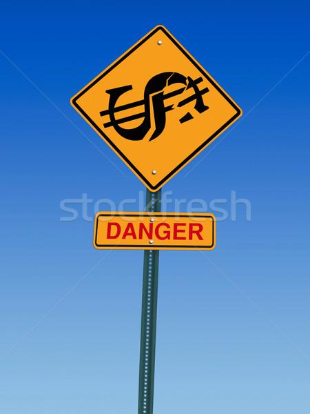 Dollár veszély előre felirat szimbólum figyelmeztetés Stock fotó © RedDaxLuma