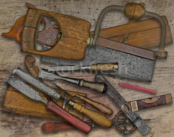 woodworking tools over bench Stock photo © RedDaxLuma