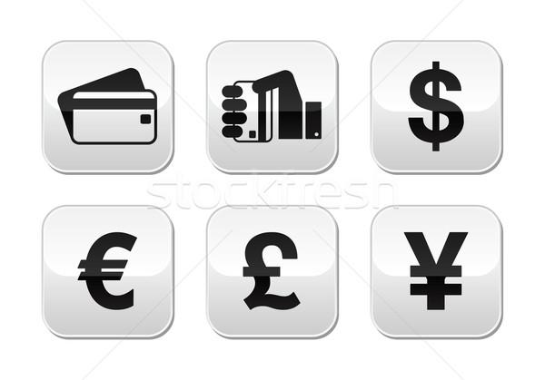 Płatność przyciski zestaw karty kredytowej pieniężnych waluta Zdjęcia stock © RedKoala