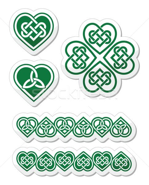 Celtic groene hart knoop vector symbolen Stockfoto © RedKoala