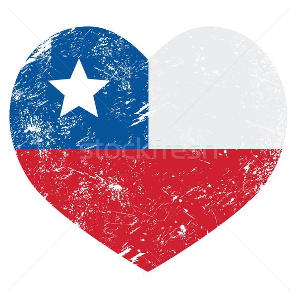 Chile retro heart shaped flag Stock photo © RedKoala