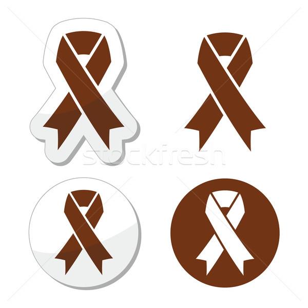 Brown ribbon anti-tobacco symbol, awereness of colon cancer, colorectal cancer Stock photo © RedKoala