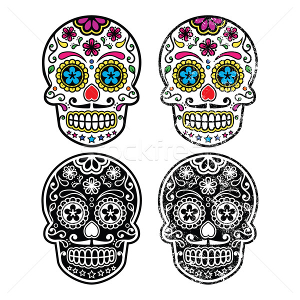 Mexican retro sugar skull, Dia de los Muertos icons set Stock photo © RedKoala