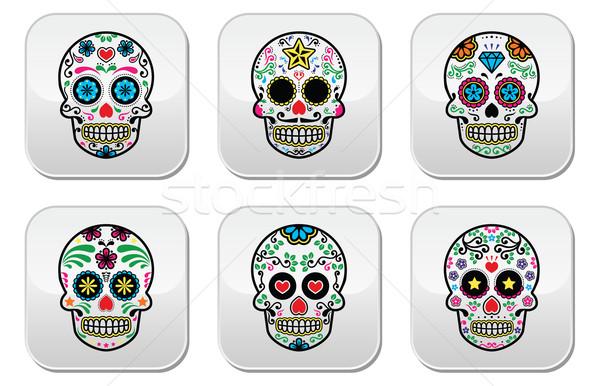Mexican sugar skull, Dia de los Muertos buttons set on white background Stock photo © RedKoala