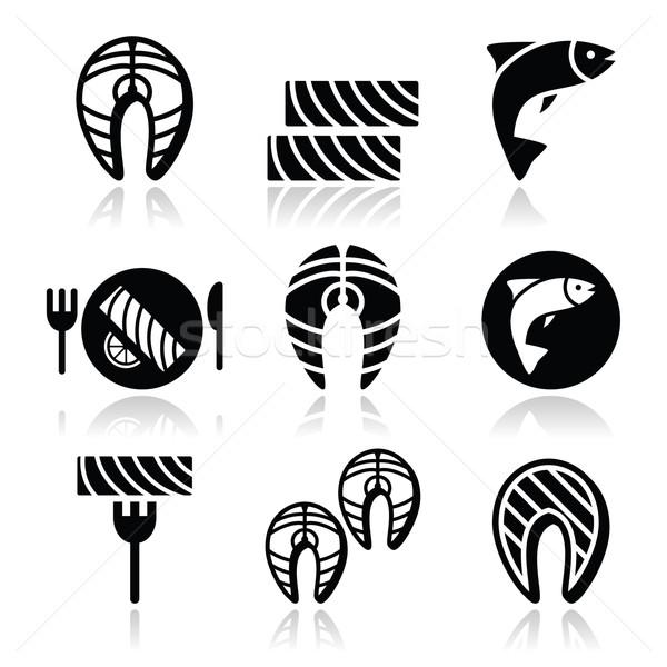 Salmon fish and meal - food icons set Stock photo © RedKoala