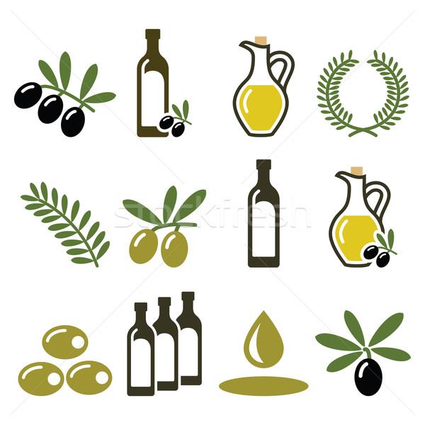 Olive oil, olive branch icons set  Stock photo © RedKoala