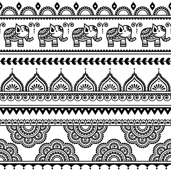 Mehndi, Indian Henna tattoo seamless pattern with elephants Stock photo © RedKoala