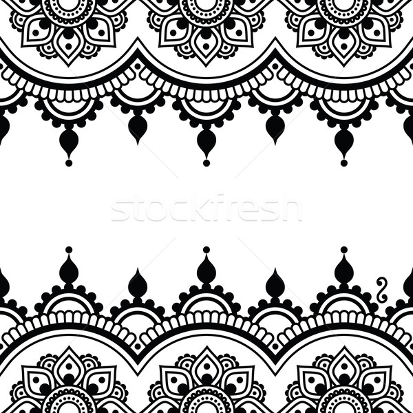 Mehndi, Indian Henna tattoo design - greetings card, lace ornament Stock photo © RedKoala
