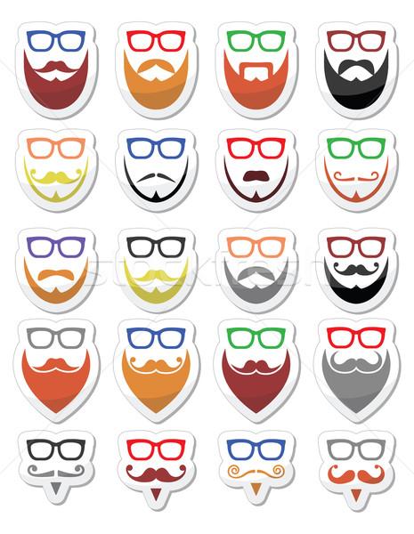 Foto d'archivio: Barba · occhiali · diverso · stili