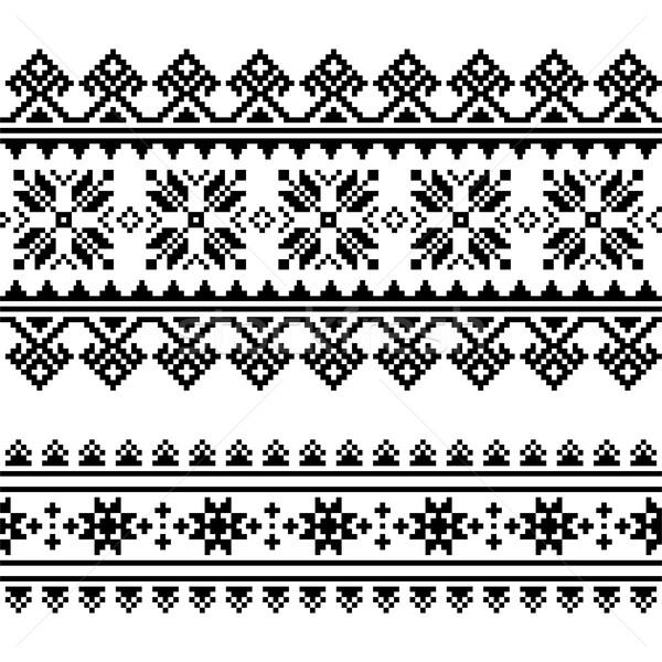 Traditional folk Ukrainian embroidery pattern in black and white Stock photo © RedKoala