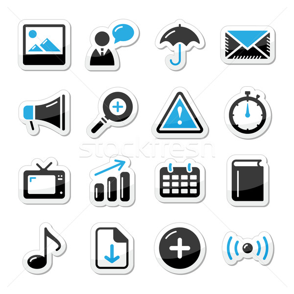 Internet website icons set styled as labels - mail, contact, about us, user Stock photo © RedKoala