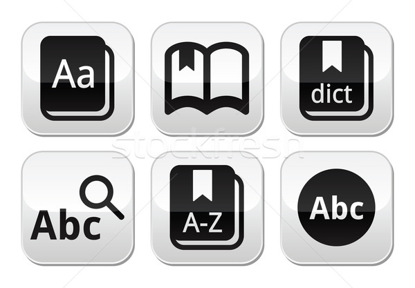 Dictionnaire livre vecteur boutons isolé Photo stock © RedKoala