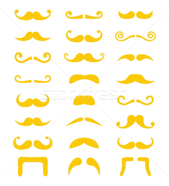 Stock photo: Blond moustache or mustache vector icons set