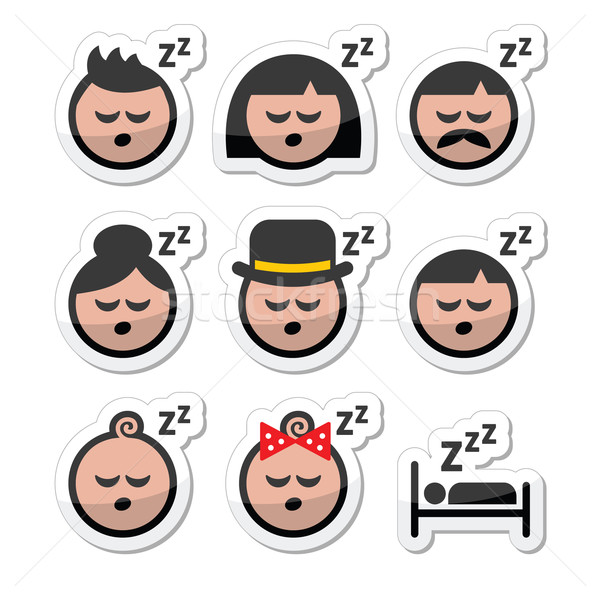 Sleeping, dreaming people faces icons set Stock photo © RedKoala