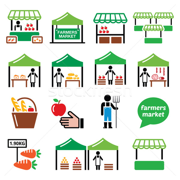 Farmers market, food market with fresh local produce icons set  Stock photo © RedKoala
