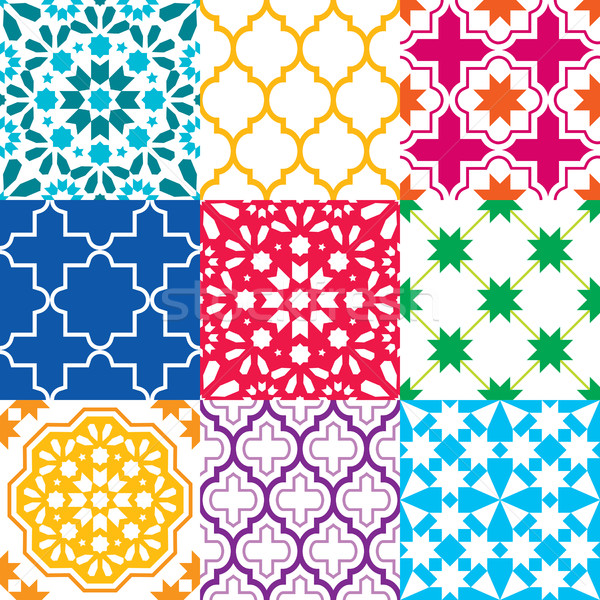 Moroccan tiles design, seamless geometric pattern collections in blue, green, red, orange, navy blu Stock photo © RedKoala