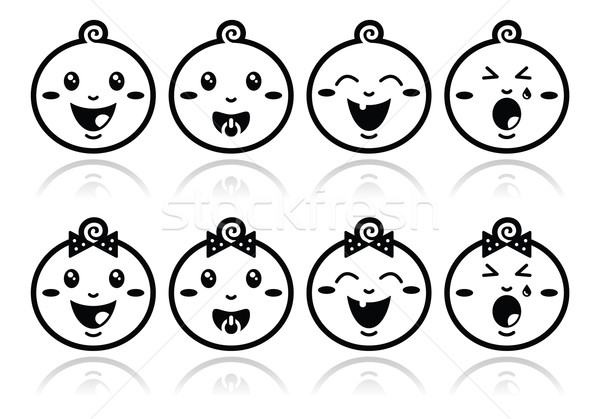 Baby boy, baby girl face - crying, with soother, smile black icons Stock photo © RedKoala