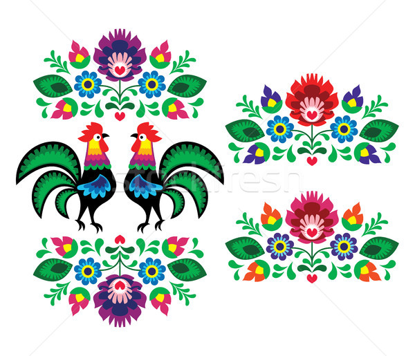 Polish ethnic floral embroidery with roosters - traditional folk pattern Stock photo © RedKoala