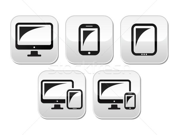Computer, tablet, smartphone vector buttons set Stock photo © RedKoala