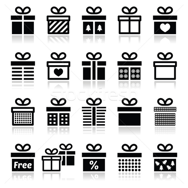 Vorliegenden Geschenkbox Vektor schwarz präsentiert Stock foto © RedKoala