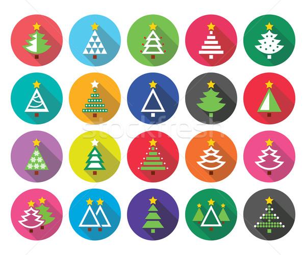 ストックフォト: クリスマス · 緑の木 · ベクトル · デザイン