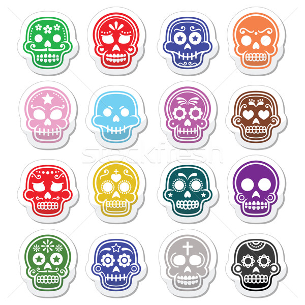 Halloween, Mexican sugar skull, Dia de los Muertos - cartoon icons Stock photo © RedKoala