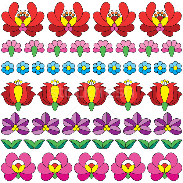 Seamless Hungarian folk art pattern - floral Kalocsai embroidery  Stock photo © RedKoala