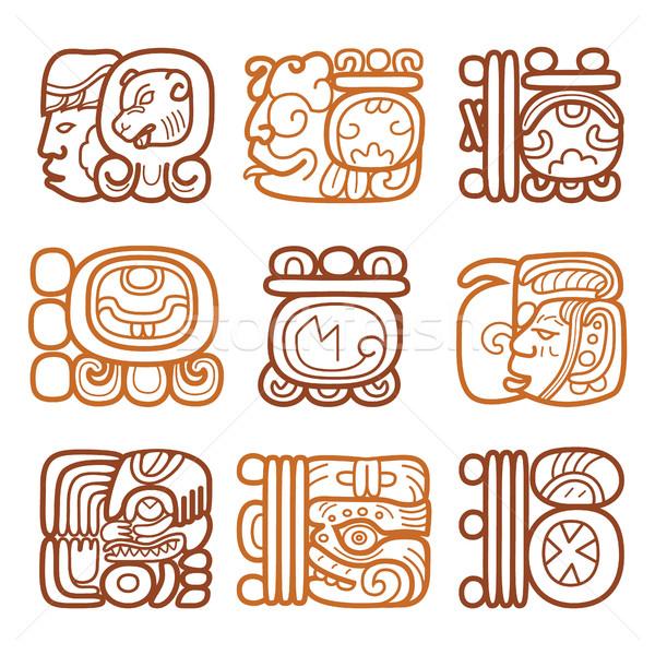 Maya glyphs, writing system and languge vector design   Stock photo © RedKoala