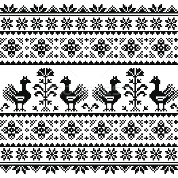 Ukrainian or Belarusian, Slavic folk art knitted black embroidery pattern with birds  Stock photo © RedKoala