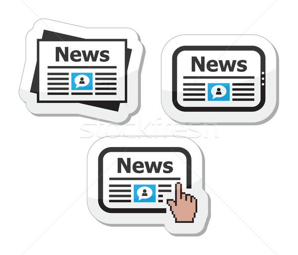 Newpaper, news on tablet icons set as labels Stock photo © RedKoala