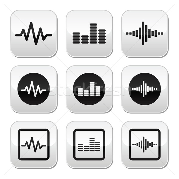 Soundwave music vector buttons set  Stock photo © RedKoala