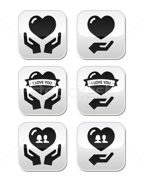 Hands with heart, love, relationship buttons set Stock photo © RedKoala