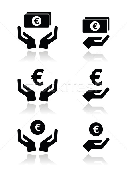 Hands with euro banknote, coin vector icons set  Stock photo © RedKoala