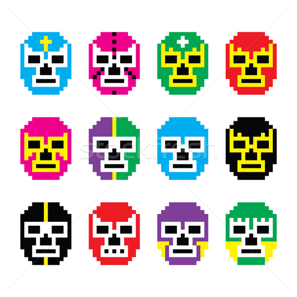 Lucha Libre, luchador pixelated Mexican wrestling masks icons Stock photo © RedKoala