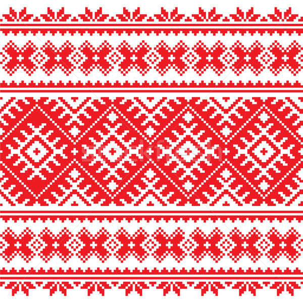 Seamless Ukrainian folk red embroidery pattern    Stock photo © RedKoala