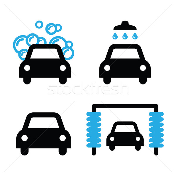 Car wash icons black and blue set - vector Stock photo © RedKoala