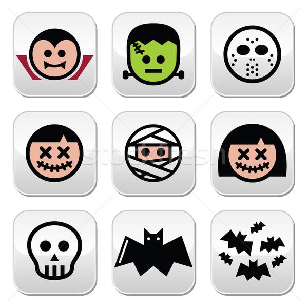 Halloween characters - Dracula, monster, mummy buttons  Stock photo © RedKoala