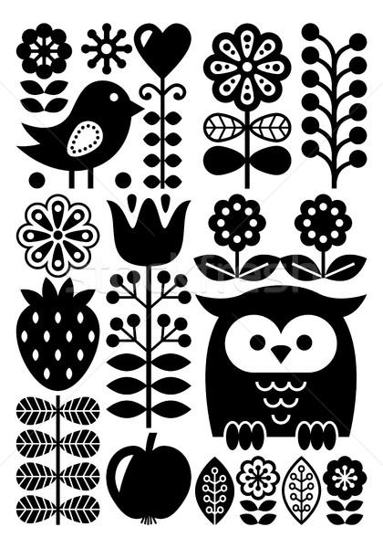 Finnish inspired folk art pattern - Scandinavian, Nordic style - monochrome Stock photo © RedKoala