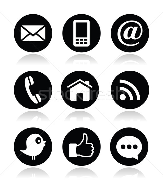 Contact web blog social media iconen tjilpen Stockfoto © RedKoala