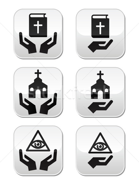 Stock photo: Religion buttons - hands with bible, church, eye of god