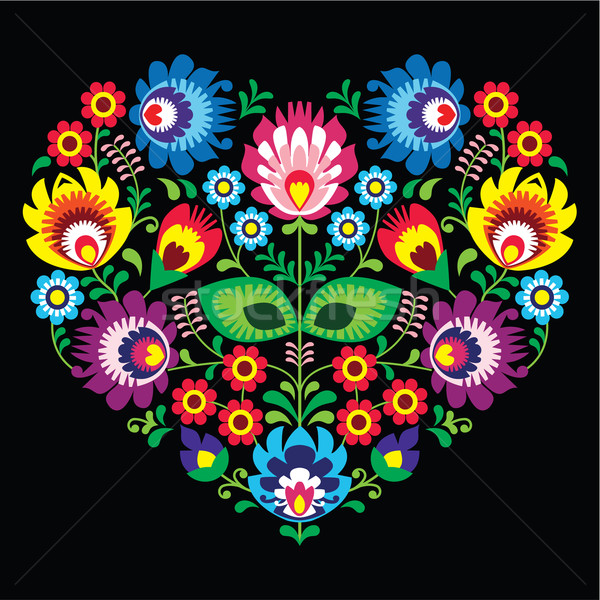 Polish, Slavic folk art art heart with flowers on black - wzory lowickie, wycinanka  Stock photo © RedKoala