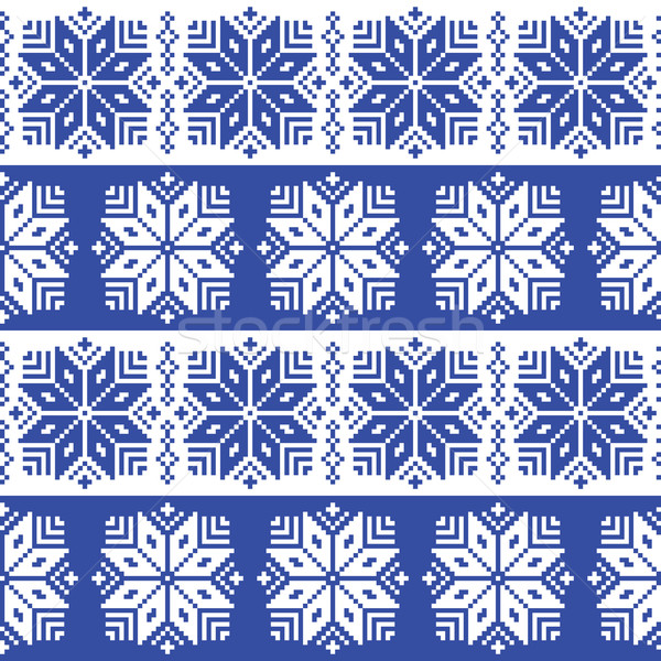 Traditional ornamental winter navy knitted pattern - Nordic style  Stock photo © RedKoala