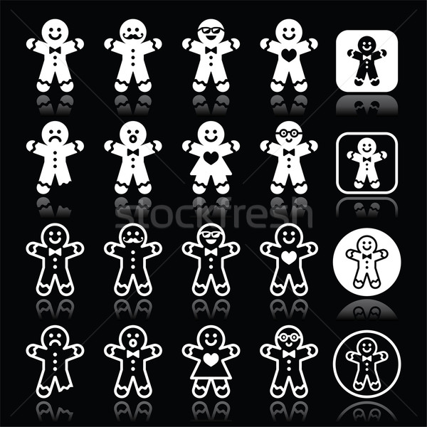 Gingerbread man Christmas white icons on black Stock photo © RedKoala