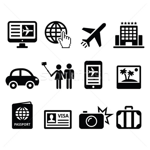Travel and tourism, booking holidays icons set Stock photo © RedKoala