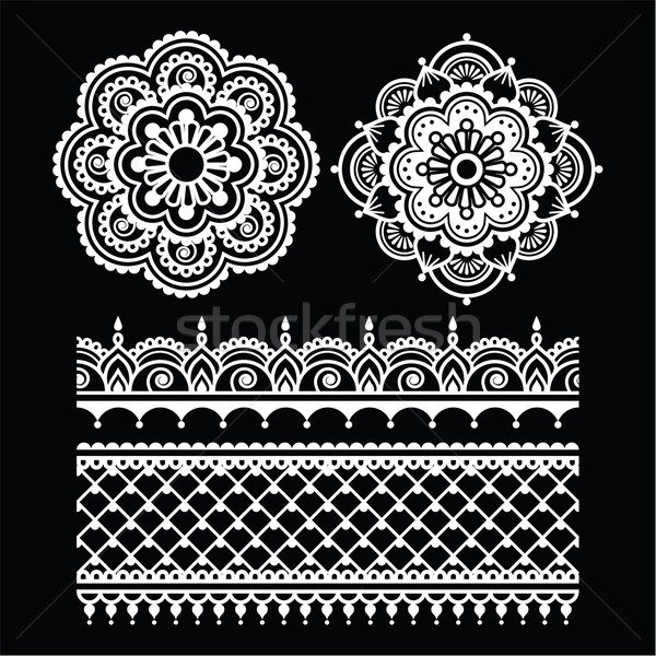 Mehndi, Indian Henna tattoo white seamless pattern on black Stock photo © RedKoala