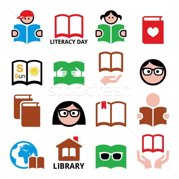 Children and adults reading books, International Literacy Day icons Stock photo © RedKoala