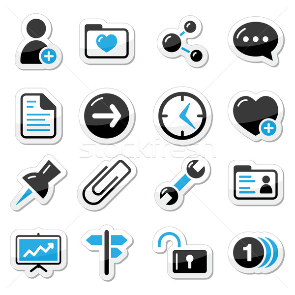 Internet icônes web étiquettes navigation noir bleu Photo stock © RedKoala